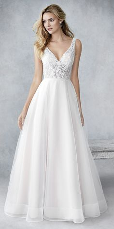 Ella Rosa BE430 | soft plain english net skirt | with sheer lace bodice | straps | low back | romantic wedding gown #weddinggown #weddingdress