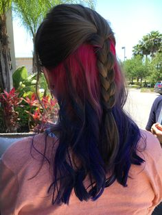 Day 1 of my hidden rainbow hair; magenta, violet, and blue.  ( not my pin, but this is what I want next)