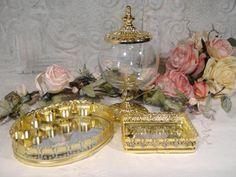 Vintage Gold Filigree Lipstick Mirror Tray Gold Filigree Jewelry Mirror Tray Gilt Storage Jar Hollywood Regency Gold Ormolu Vanity Set Bath