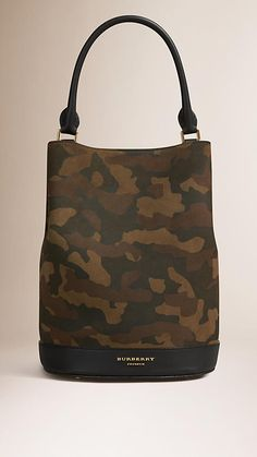 e8bb735c8fa1 Dark green ochre The Bucket Bag in Camouflage Print Suede - Image 1  Camouflage Fashion