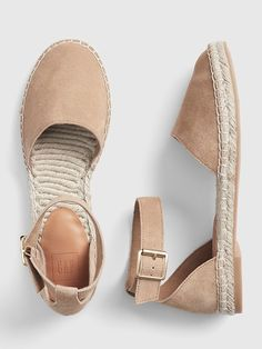 Ankle-Strap Flat Espadrilles in Suede Cute Sandals, Cute Shoes, Me Too Shoes, Shoes Sandals, Heels, Slide Sandals, Sock Shoes, Shoe Boots, Ankle Strap Flats