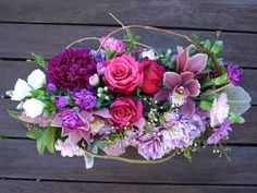 A long and low table centre with rustic feel. Centrepieces, Table Centerpieces, Low Tables, Table Centers, Rustic Feel, Wedding Flowers, Floral Wreath, Wreaths, My Favorite Things