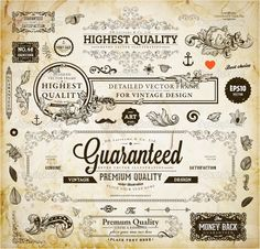 Vector set of calligraphic design elements: page decoration, Premium Quality and Satisfaction Guarantee Label, antique and baroque frames  Old paper texture with dirty footprints of a cup of coffee. — 图库插图 #43228271