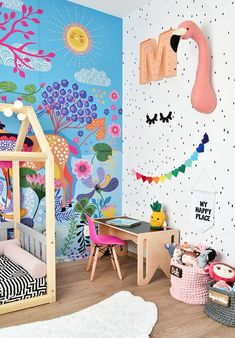 Kid's Room and Nursery Ideas 7 of the Most Creative and Colorful Kid Room Ideas - PDB Trending Lamin Baby Bedroom, Kids Bedroom, Trendy Bedroom, Bedroom Decor, Modern Bedroom, Modern Playroom, Playroom Decor, Bedroom Ideas, Kids Room Design