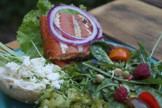 A camping trip meal made entirely of Salt Springisland Farmers Market finds! Salmon Burgers, Farmers Market, Salt, Camping, Island, Spring, Ethnic Recipes, Food, Campsite