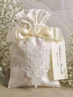 Ivory satin wedding favor bag lace wedding favor by decorisw Wedding Favor Bags, Unique Wedding Favors, Wedding Gifts, Lace Wedding, Our Wedding, Wedding Decorations, Lavender Bags, Linens And Lace, Craft Gifts