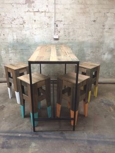 ::: Richie Tipene Design :::  Recycled hardwood bar table and stools
