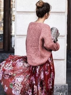 awesome Knit rose-colored sweater + floral print maxi dress | #floralprint #fashion #sty...