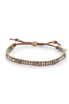 Stella & Dot Wonderlust Single Wrap | Mixed Metal Threaded Leather Wrap Bracelet perfect for a #SDarmparty | #StellaDotStyle | Stella & Dot | Find it at www.stelladot.com