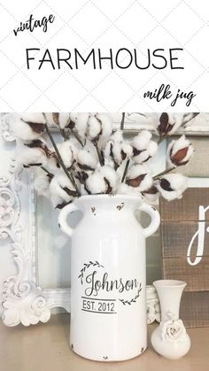 This Farmhouse Style Home Decor piece is the perfect touch for your farmhouse style decor! It is a Rustic looking milk jug that measures just at 10 inches in height. It makes for a great wedding gift too! $35.00 #affiliate