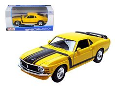 1970 Ford Mustang Boss 302 Yellow 1/24 Diecast Model Car by Maisto - Brand new 1:24 scale diecast car model of 1970 Ford Mustang Boss 302 die cast car by Maisto. Brand new box. Rubber tires. Has opening hood and doors. Made of diecast with some plastic parts. Detailed interior, exterior, engine compartment. Dimensions approximately L-8,W-3,H-2.5 inches. Please note that manufacturer may change packing box at anytime. Product will stay exactly the same.-Weight: 2. Height: 6. Width: 11. Box…