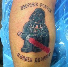 Starwars tattoo for my brother Nerdy Tattoos, Star Tattoos, Tatoos, Lego Tattoo, I Tattoo, Star Wars Art, Lego Star Wars, Skin Deep Tattoo, Cool Lego