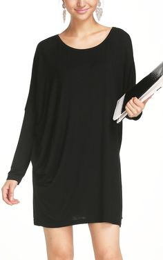 Simple, but classic look with this black long sleeve dress