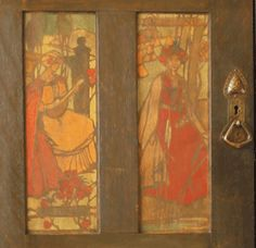 Painted panels from Liberty & Co oak Hall robe with heart impressed handle