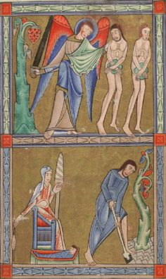 Glasgow University Library. The Hunterian Psalter. England: c. 1170. Sp Coll MS Hunter U.3.2 (229). folio 8r: miniature depicting the expulsion of Adam and Eve from Eden (top compartment)  and their subsequent labours (lower compartment)
