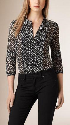 Black Pleat Detail Leaf Print Silk Shirt - $450