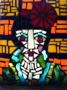 """""""Prima"""" mosaic portrait made with all recycled glass. Mosaic Portrait, Art, Portrait, Character"""