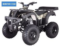 From Family Powersport:The new Rhino 250 utility ATV from Tao is one of the most full-featured and least expensive full-sized ATVs on the market. The Rhino boasts a powerful engine with a 4 speed manual transmission for confident handling o. Taotao Atv, Motorcycle Camping, Camping Gear, Go Kart, Four Wheelers For Kids, Atv Four Wheelers, Grid Tool, Cheap Sports Cars, Shopping