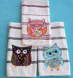 Cute owls on towels