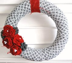 Red and grey wreath   fabric wrapped wreath - red and grey