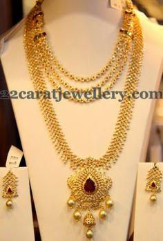 Jewellery Designs: Diamond Haar Simple Layers Necklace