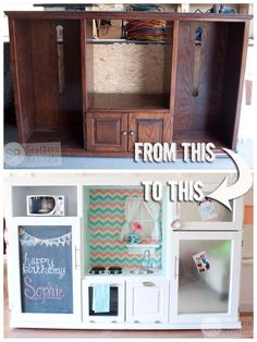Transform a disused entertainment center into a sturdy play kitchen.
