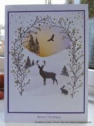 Card Io / Majestix / Tapestry Crafty Salutations: A bit of an adventure and my favourite 5 Christmas cards Xmas Cards Handmade, Stamped Christmas Cards, Homemade Christmas Cards, Christmas Cards To Make, Christmas Deer, Homemade Cards, Handmade Christmas, Holiday Cards, Christmas Crafts