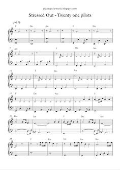 play popular music, free piano sheet music, Stressed out, Twenty one pilots