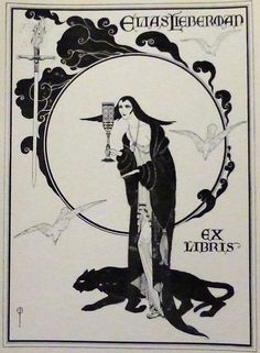 Original Art Nouveau Bookplate~ Woman & Panther ~Elias Leiberman from bejewelled on Ruby Lane