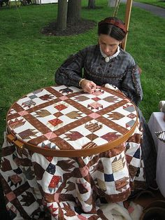 Civil War Reenactment -- Sewing Quilts