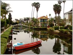 Venice Canal, bridges, and walkway in Los Angeles, CA
