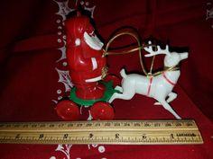 Vintage Plastic Santa & Reindeer by VintageBarnYard on Etsy