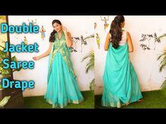 Saree Gown, Chiffon Saree, Sari, Dress Neck Designs, Blouse Designs, Ruffle Skirt Tutorial, Saree Wearing Styles, Bengali Saree, Drape Sarees