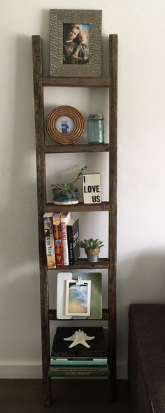 Decorative Ladder Reclaimed Old Wooden By RusticDecorFrames
