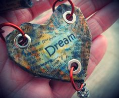Upcycled recycled repurposed Dream paper necklace by EarthChildArt