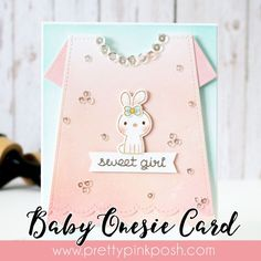 Tutorial: Baby Onesie Card Pretty Pink Posh by Joni | sweet girl