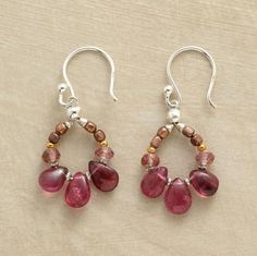 "TOURMALINE LOOP EARRINGS -- Pink tourmalines drip from loops hand wired with rose quartz rondelles and beads of sterling silver, copper and 14kt goldplate. Sterling silver French wires. Ours exclusively. 1-1/4""L."