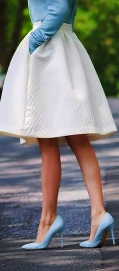 pretty white skirts with light blue accents