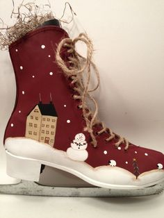 Hand Painted Ice Skates | Primitive Country Hand Painted Snowman Ice Skate. | Crafts - Skates