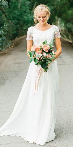 0e7d1bf0 Graceful Tulle & Chiffon V-neck Neckline A-line Wedding Dress With Beadings  Planejamento