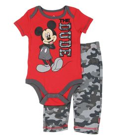 Another great find on #zulily! Red Mickey Mouse 'The Dude' Bodysuit & Camo Leggings - Infant by Disney Baby #zulilyfinds
