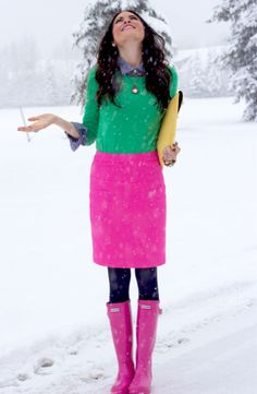 5 Ways To Style Rainboots - ave fun with color. Brighten your rainy day with a colorful outfit! Mix and match for a playful ensemble like Rachel did here and don't be afraid of pink rain boots! .