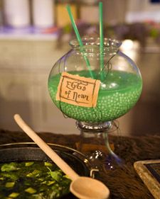 HUGE hit at our Halloween party!  I used green Kool-aid and Sprite for a kid version though.      Martha displayed this spook-tacular treat on a special Monster Buffet during her Halloween Monster Bash with Jimmy Fallon.