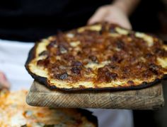 Tarte Flambée Recipe - An Alsatian pizza with onions, bacon and cheese. Magnifique! #FoodRepublic #ShineSupperClub