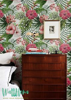 Hibiscus & fougère Wallpaper fond décran amovible auto