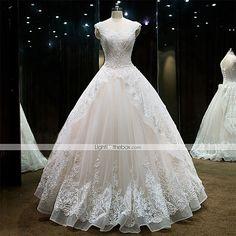 Princesa Vestido de Noiva Longo Coração Renda / Tule com Miçanga / Renda de 5197651 2016 por R$1.013,97