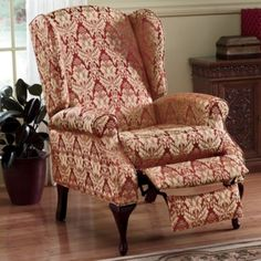 This wingback recliner, with easy-care sueded microfiber upholstery, turns a classic room into a relaxing sp.Decorate Now, Pay Later with Country Door Credit! Living Furniture, Living Room Chairs, Home Furniture, Living Area, Furniture Ideas, Living Rooms, Modern Recliner, Primitive Furniture, Primitive Decor