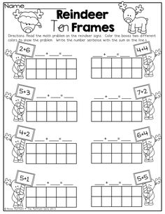 Worksheets ten frame worksheets kindergarten penguin 10 frames kinderland c Kindergarten Fun, Kindergarten Worksheets, Math Activities, Winter Activities, Christmas Activities, Math Games, Addition Worksheets, Math Addition, Simple Addition