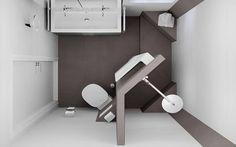 Bovenaanzicht van het badkamerontwerp voor de kleine badruimte: Modern Badkamer door Sani-bouw