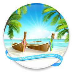 Tropical islands holiday background design vector 05